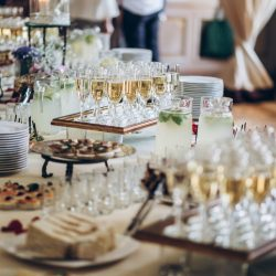 champagne and appetizers for a wedding