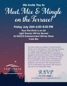 July Mingle on the Terrace 232x300 - Meet, Mix & Mingle