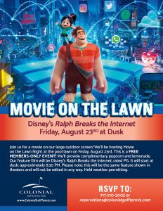 Movie on the Lawn August 232x300 - Movie on the Lawn - Ralph Breaks the Internet