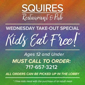 Squires Kids Eat Free Graphic 2 300x300 - Kids Eat Free (12 and Under)