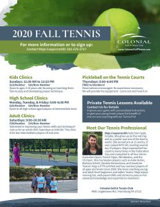 Tennis Flyer 2020 232x300 - Kids (4-10 yrs) Tennis Clinic