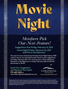 "Movie Night Flyer 232x300 - ""Member's Choice"" Movie Night Suggestions Due"