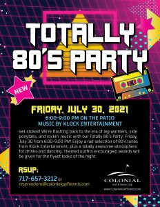 80s Party Flyer 232x300 - Totally 80's Night Party (Patio)